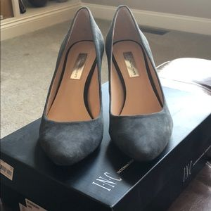 Suede gray pumps. Worn once.